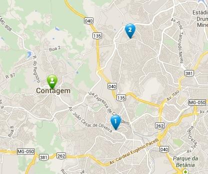 Mapa para assistencia tecnica Samsung Contagem